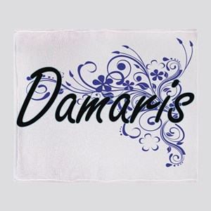 Damaris Artistic Name Design with Fl Throw Blanket